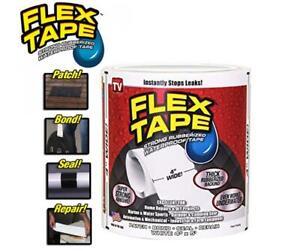 "White FLEX TAPE 4"" X 5'  PATCH BOND SUPER STRONG RUBBERIZED WATERPROOF SEAL"