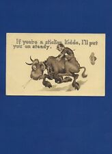 "ANTIQUE ""COMEDY"" GREETING POSTCARD MAN RIDING BULL 1911"