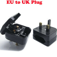 Universal UK Travel Adapter European EURO EU 2 To 3 Pin Main Plug Converter Fuse