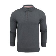 Mens Polo T Shirt Brave Soul Lincoln Long Sleeve Cotton Pique Casual Top Charcoal Marl Large