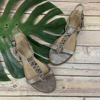 Latigo Anthropologie Dreamy Flat Sandals Size 10 Silver Gray Leather T Strap