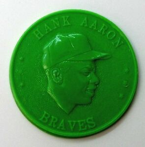 Vintage 1960 Armour Coin Hank Aaron Braves - Lime Light Green