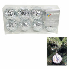 Christmas Mirror Ball Baubles Tree Decoration - 8 Pack 50mm
