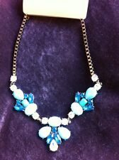 Accessorize Chunky Necklace Turquoise Diamanté New