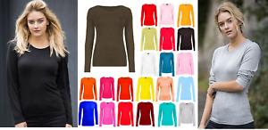 Long Sleeve Round Neck Plain Basic ladies Kids Girls Women's Stretch T-Shirt