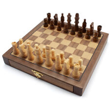 10-Inches Wooden Magnetic Chess Board Game Set with Storage Drawers