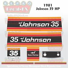 1981 Johnson 35 HP Sea-Horse Outboard Reproduction 9 Pc Marine Vinyl Decals