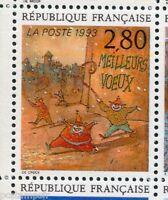 FRANCE, 1993, timbre 2844, MEILLEURS VOEUX, CRECY, BD, PLAISIR ECRIRE neuf**