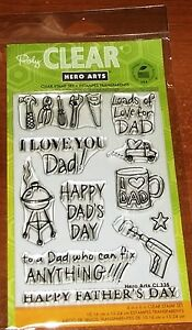 CLEAR ACRYLIC HERO ARTS STAMPS HAPPY DAD'S DAY ~ I Love You Dad!  wks CTMH blk