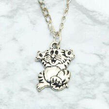 Funny Feline Comic Kitty Cat Charm Pendant Necklace Ancient Silver 20 Inch Chain