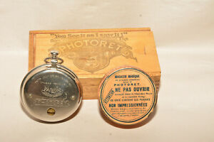 MAGIC INTRODUCTION CO. PHOTORET ANTIQUE WATCH CAMERA IN BOX WITH FILM TIN