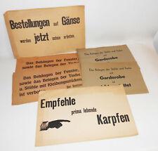 Konvolut Gastwirt Papierschilder Gaststätte Garderobe Karpfen Gänse 1930er !