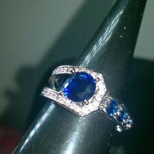 UNUSUAL MODERN DESIGN ROUND CUT BLUE CREATED SAPPHIRE RING SIZE O