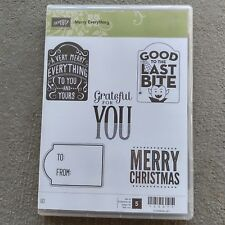 Stampin Up Merry Everything Christmas Halloween Gift Tags Grateful Stamps Set