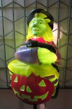 "Vintage Witch w/ Pumpkin & Cat Plastic Lighted Blow Mold 23"" Halloween TPI 1993"