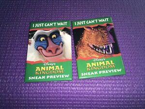 """Walt Disney World  Animal Kingdom """"Sneak Preview"""" Pin / Button Lot Of 2 DISNEY"""