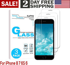 For iPhone7 8 Heavy Duty Tempered Glass Screen Protector 3D Touch 9H Hard 3 Pack