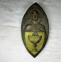 Antique Brass Ornate plaque Church Shield Seal  Holy Communion Christ Collector