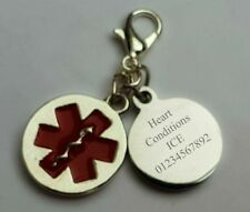 Medical Alert ID Children Adults  Heart Conditions Life Saving Charm Engraved