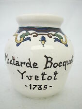 * POT MOUTARDE BOCQUET YVETOT 1735  DIGOIN SARREGUEMINES 8.5 cm MUSTARD JAR