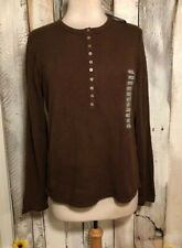 Chaus NWT Ladies Brown Button Front Long Sleeve Sweater Size Large