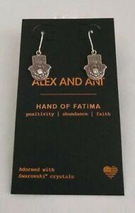 Alex and Ani Hand of Fatima Earrings -  Rafaelian Silver/Swarovksi Crystal