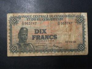 1958 BELGIAN CONGO PAPER MONEY - 10 FRANCS BANKNOTE!