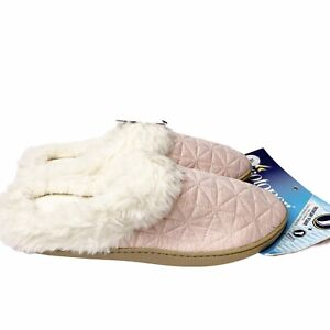 Isotoner Pink Quilted Slippers XL 9.5-10 White Faux Fur Clogs Memory Foam NEW