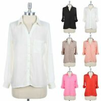 Womens Roll Up Sleeve Button Down Solid Blouse Shirt High Low Hem V Neck Top