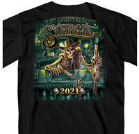 2021 Sturgis Saloon Skeleton Cowboy Shirt Black Hills Motorcycle Rally in Black