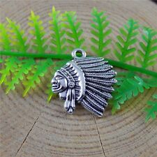 51501 Antique Silver Alloy Indian Caciques Head Pendants Charms Findings 60pcs