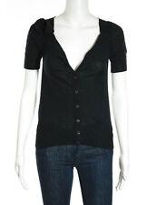 PRADA Black Silk V Neck Button Down Short Sleeve Cardigan IT Sz 38