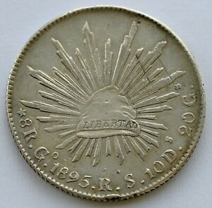 MEXICO 8 REALES 1895 Go RS SILVER COIN