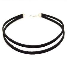 Trend Chokerkette Halsband schlicht Silber Leder schwarz Dirndl Gothic Choker