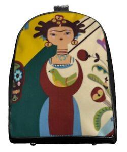 "US HANDMADE Mini Backpack with "" FRIDA CARITA""  Pattern Shiny Black Side"