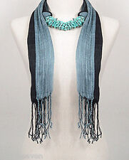 NEW Genuine Natural Blue Turquoise Beaded 100% Organic Cotton Black Gray Scarf