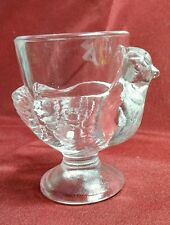 VINTAGE CLEAR GLASS CHICKEN EGG CUP FROM FRANCE