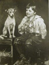 J.G. Brown SHOE SHINE BOY & HIS DOG Waiting for a Bite 1889 Antique Print Matted