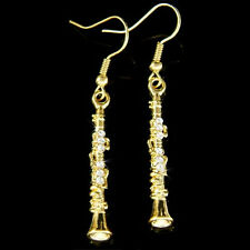 Clarinet Woodwind made with Swarovski Crystal Instrument Music Musical Earrings