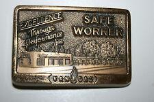 Vintage 1985 Final Edition Van Gas Safe Worker Brass Belt Buckle Award Jostens