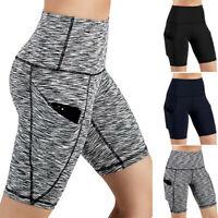 Women High Waist Out Pocket Yoga Short Running Athletic Shorts Pants Trousers DZ
