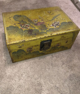 Vintage Lawrence & Scott Buffalo Hide Leather Trunk Box Asian Decor Handpai