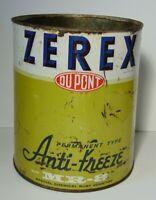 Vtg 1950s DUPONT ZEREX ANTIFREEZE OIL CAN ADVERTISING TIN WILMINGTON DELAWARE DE