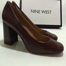 Nine West Begonia Dark Red Leather Heels Women's Shoes Size 9 M