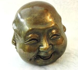 Antiques Old tibet brass 4 faces buddha head statues Figures 6cm