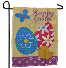 "HAPPY EASTER EGGS DUCK DUCKY BUTTERFLY GARDEN BANNER/FLAG 12""X18"" SLEEVED POLY"