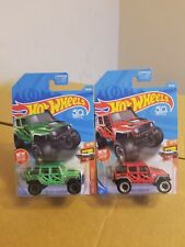 TWO 2018 Casting Hot Wheels 50th Anniv '17 JEEP WRANGLER Red D & Green J Case
