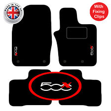 Fiat 500x 2014+ Onwards Tailored Carpet Car Floor Mats with logo 4 Clips