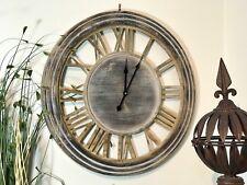 Wall Clock Wooden Large Art Round Roman Numerals Home Garden Outdoor Decor 60cm