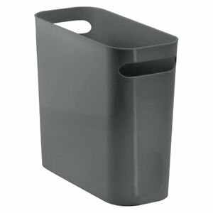 mDesign Slim Plastic Small Trash Can Wastebasket with Handles - Charcoal Gray